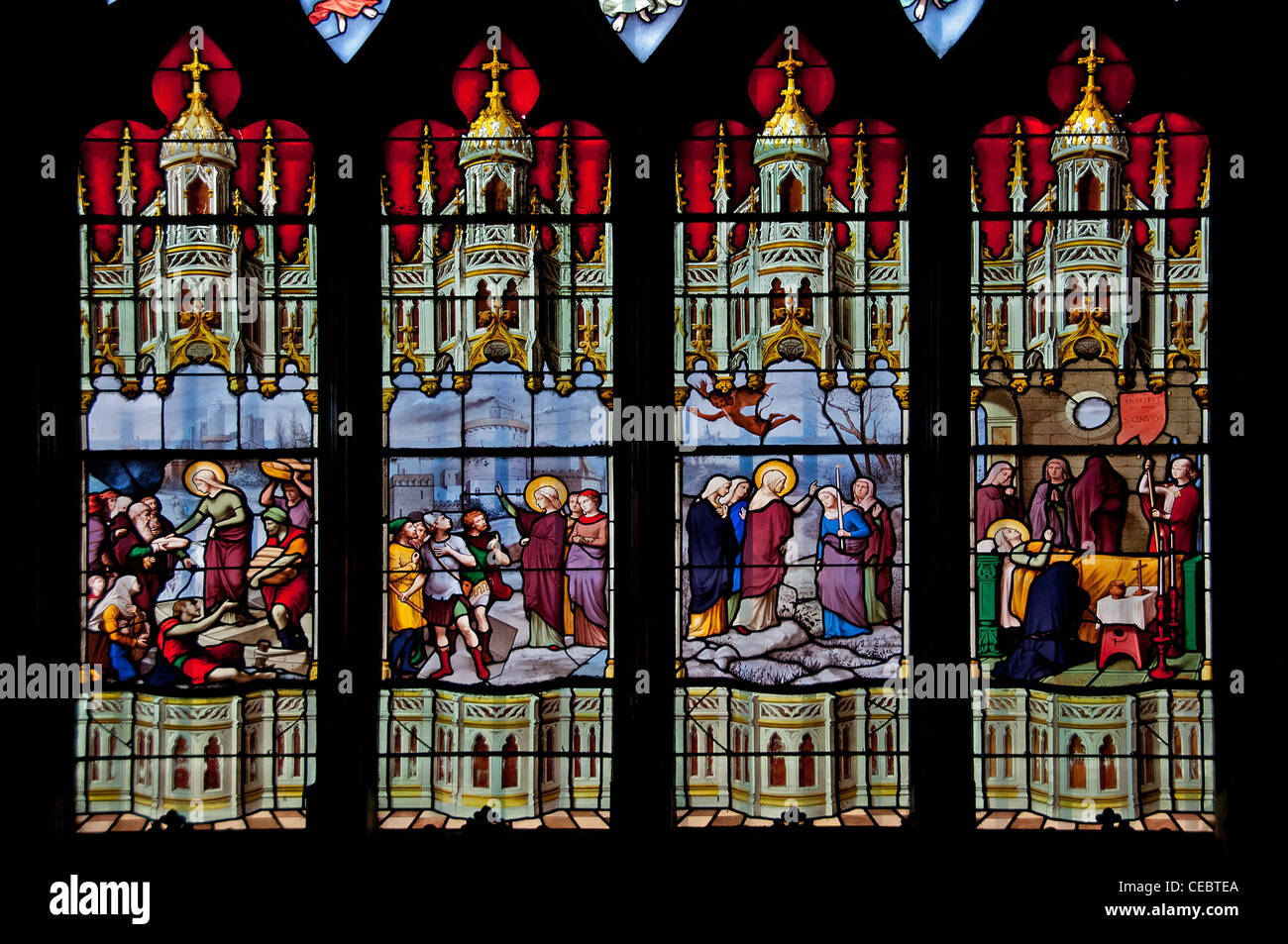 stained glass window Saint Étienne du Mont is a church in Paris France Stock Photo