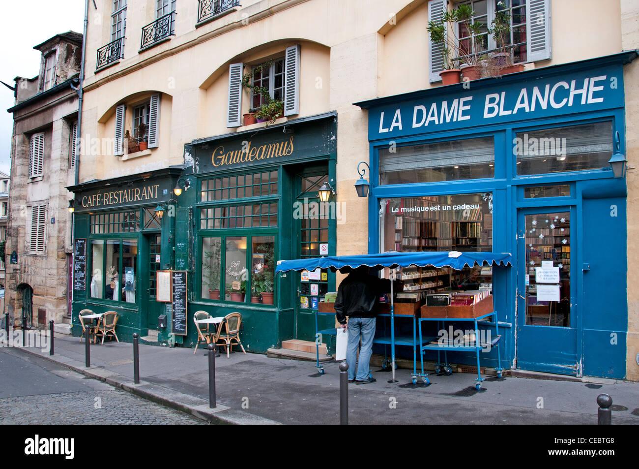 Café Restaurant Gaudeamus - La Dame Blanche La Sorbonne Quartier Latin Paris France - Stock Image