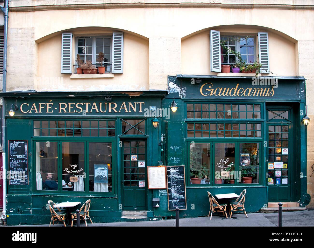 Café Restaurant Gaudeamus  La Sorbonne Quartier Latin Paris France - Stock Image