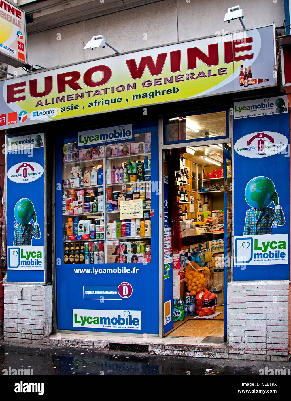 Euro wine Alimentation Generale Grocer Grocery Paris France French - Stock Image