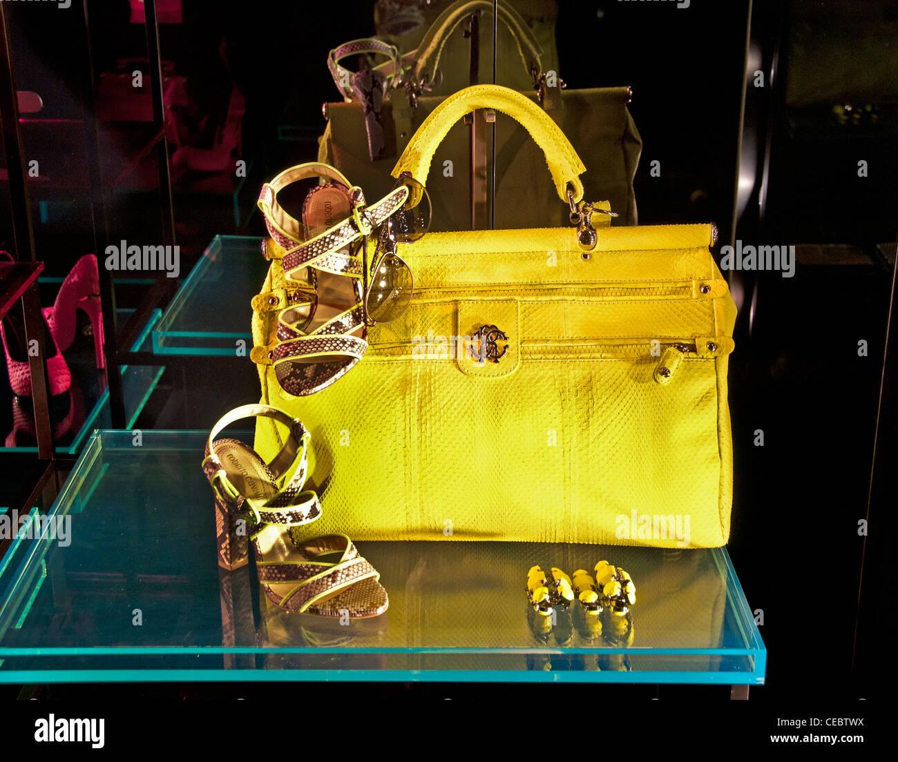 Roberto Cavalli Bag Shoe Paris France fashion designer couturier Rue Faubourg Saint Honoré Stock Photo