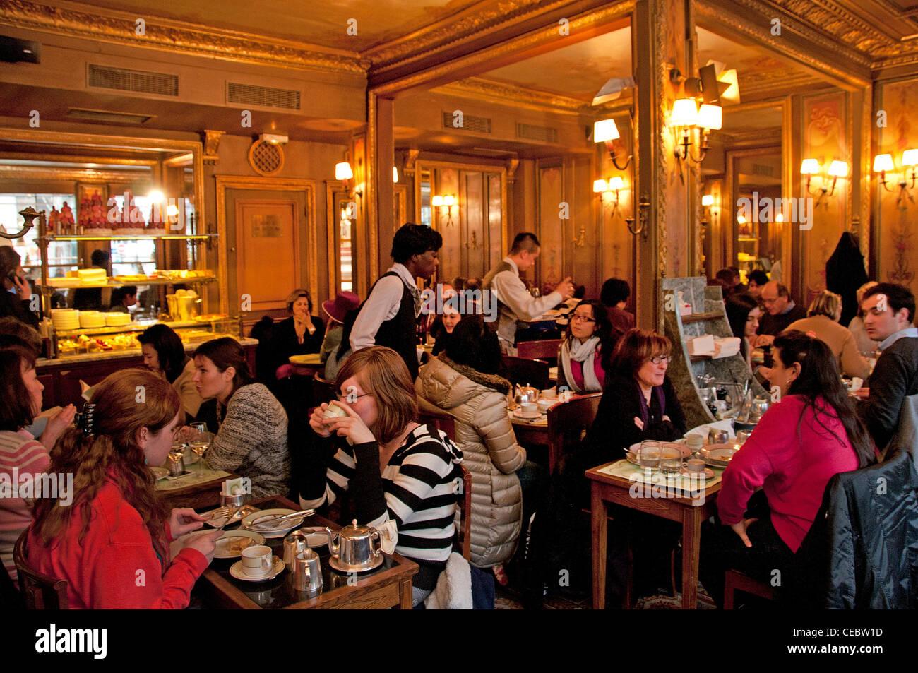 Ladurée Rue Royale luxury cakes pastries restaurant bakery Paris - Stock Image