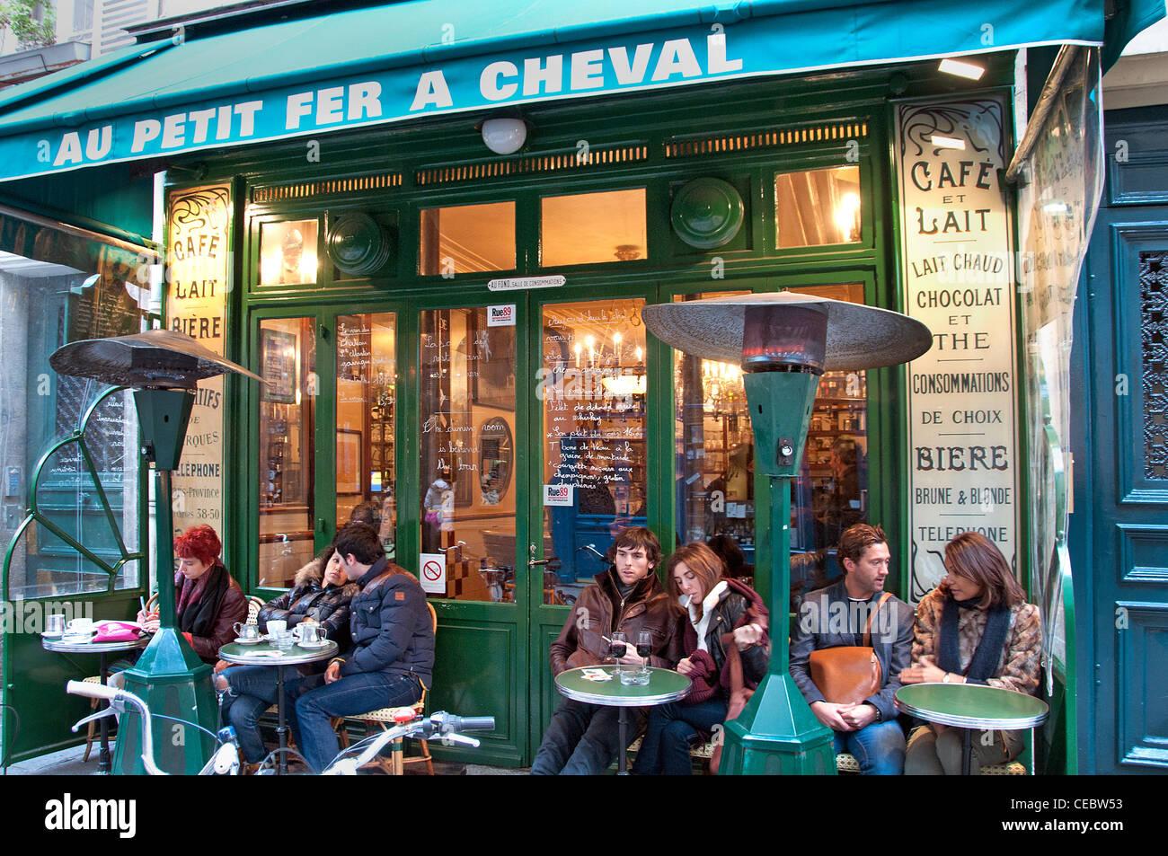 Bar Cafe Pub Au Petit Fer Cheval Shop Marais Paris France - Stock Image