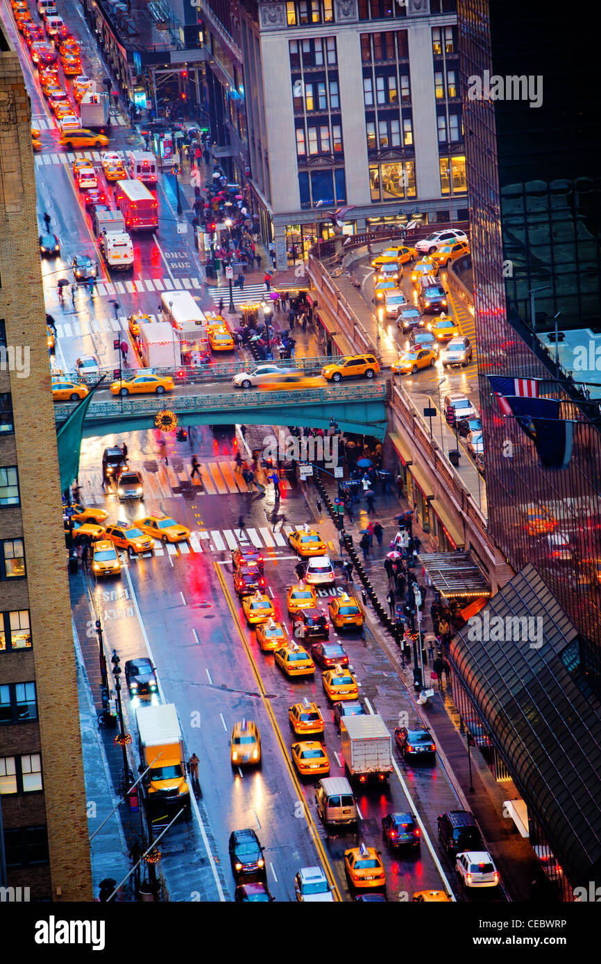 Rush hour on 42nd Street in New York City - Stock Image
