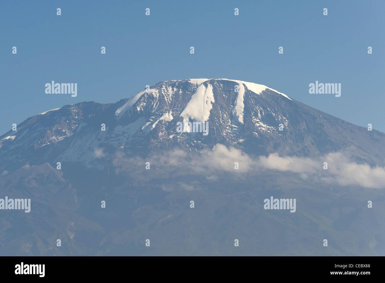 Kilimanjaro as seen from Moshi in Tanzania - Stock Image