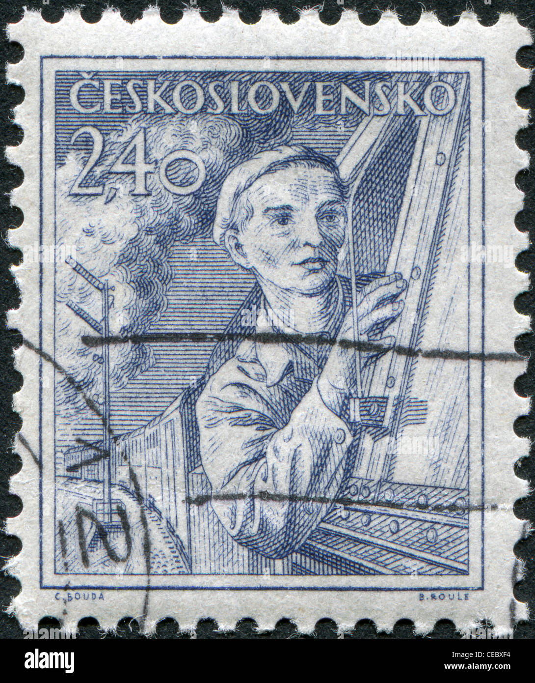 CZECHOSLOVAKIA - CIRCA 1954: A stamp printed in the Czechoslovakia, shows a locomotive engineer, circa 1954 - Stock Image