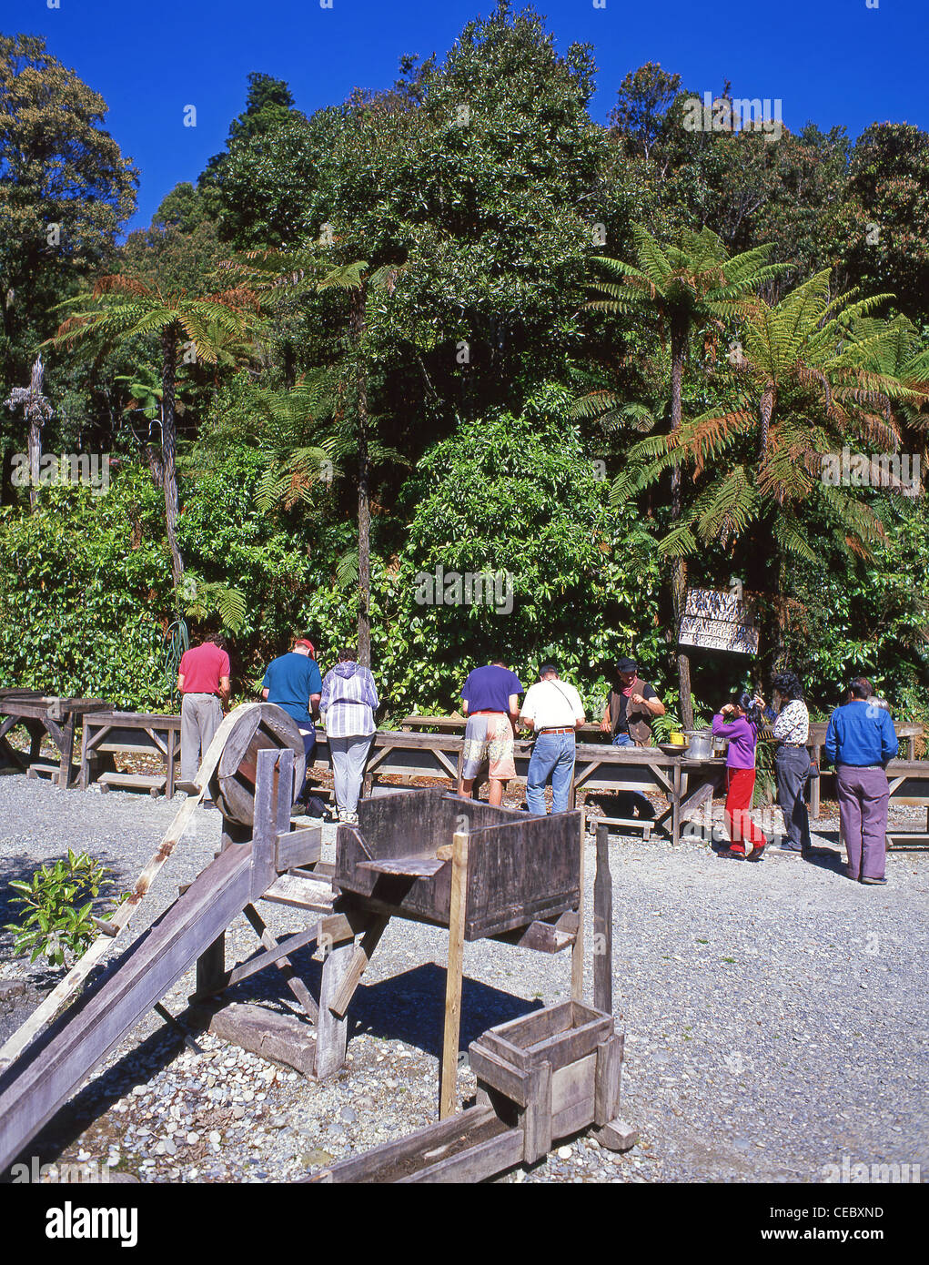 Tourists gold-panning at 19th century gold-mining town, Shantytown, Greymouth, West Coast Region, South Island, - Stock Image