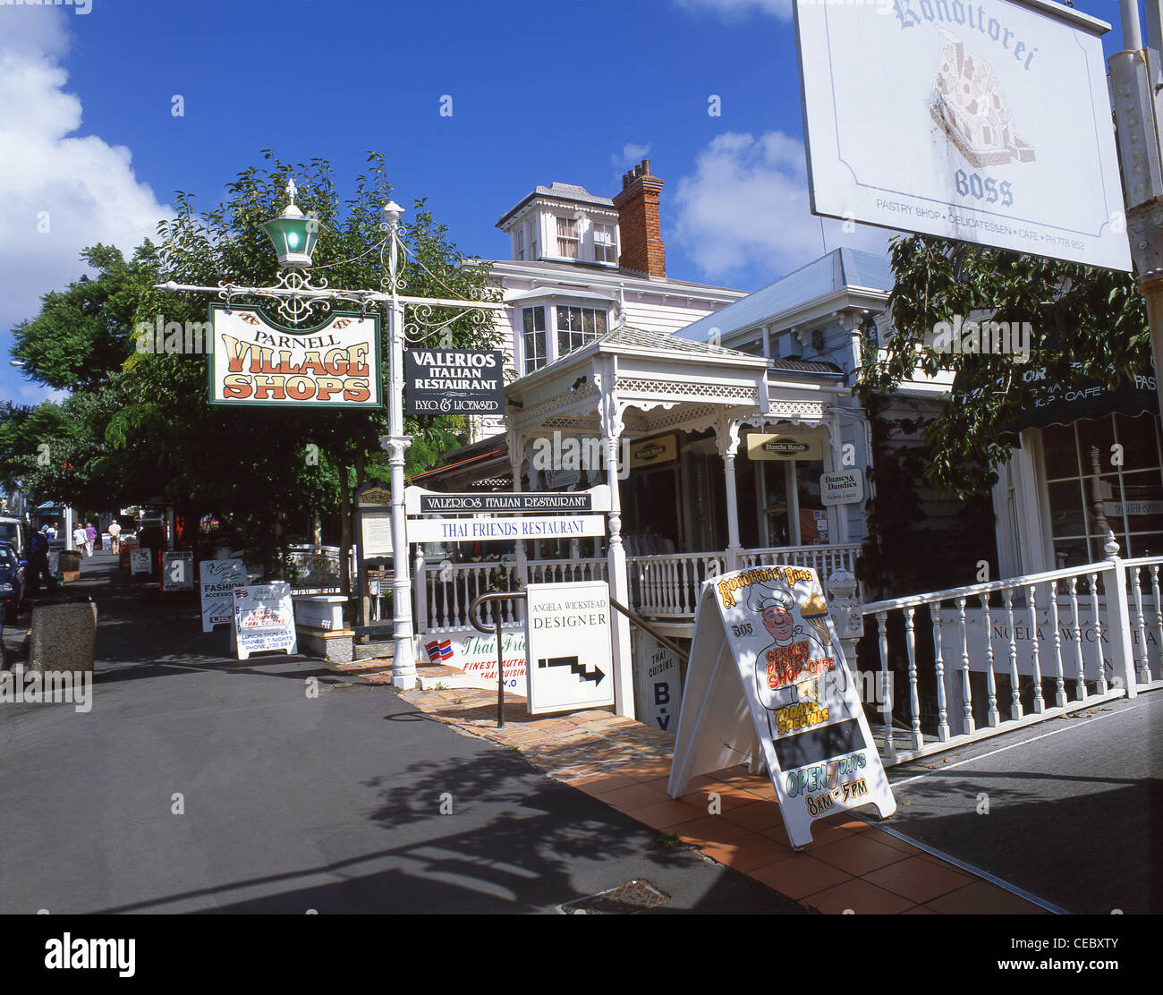 Parnell Village shops, Parnell Rise, Parnell, Auckland, Auckland Region, North Island, New Zealand Stock Photo
