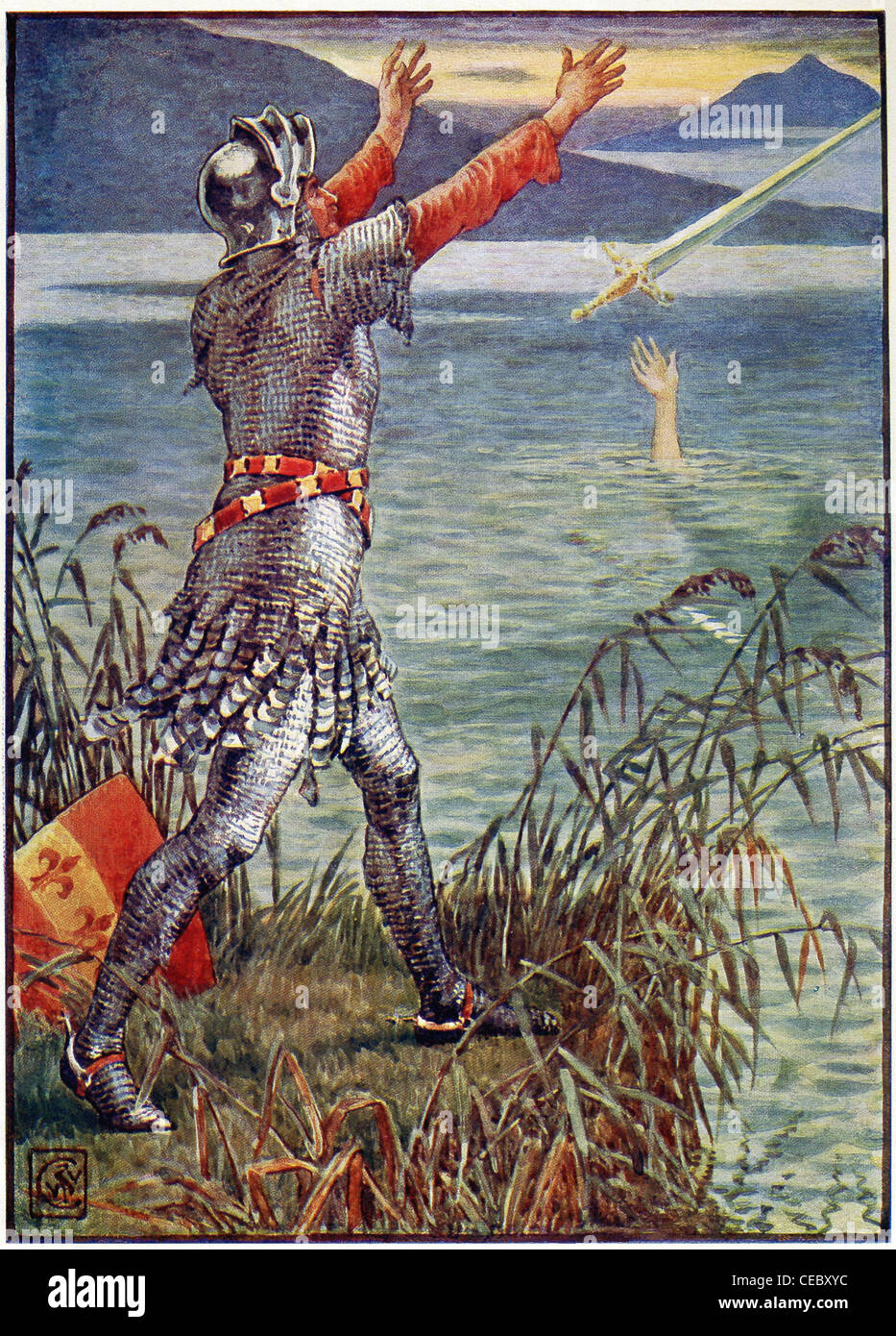 Sir Bedivere gives back the sword Excalibur, that King Arthur had used but now he is dead, to the Lady of the Lake. - Stock Image