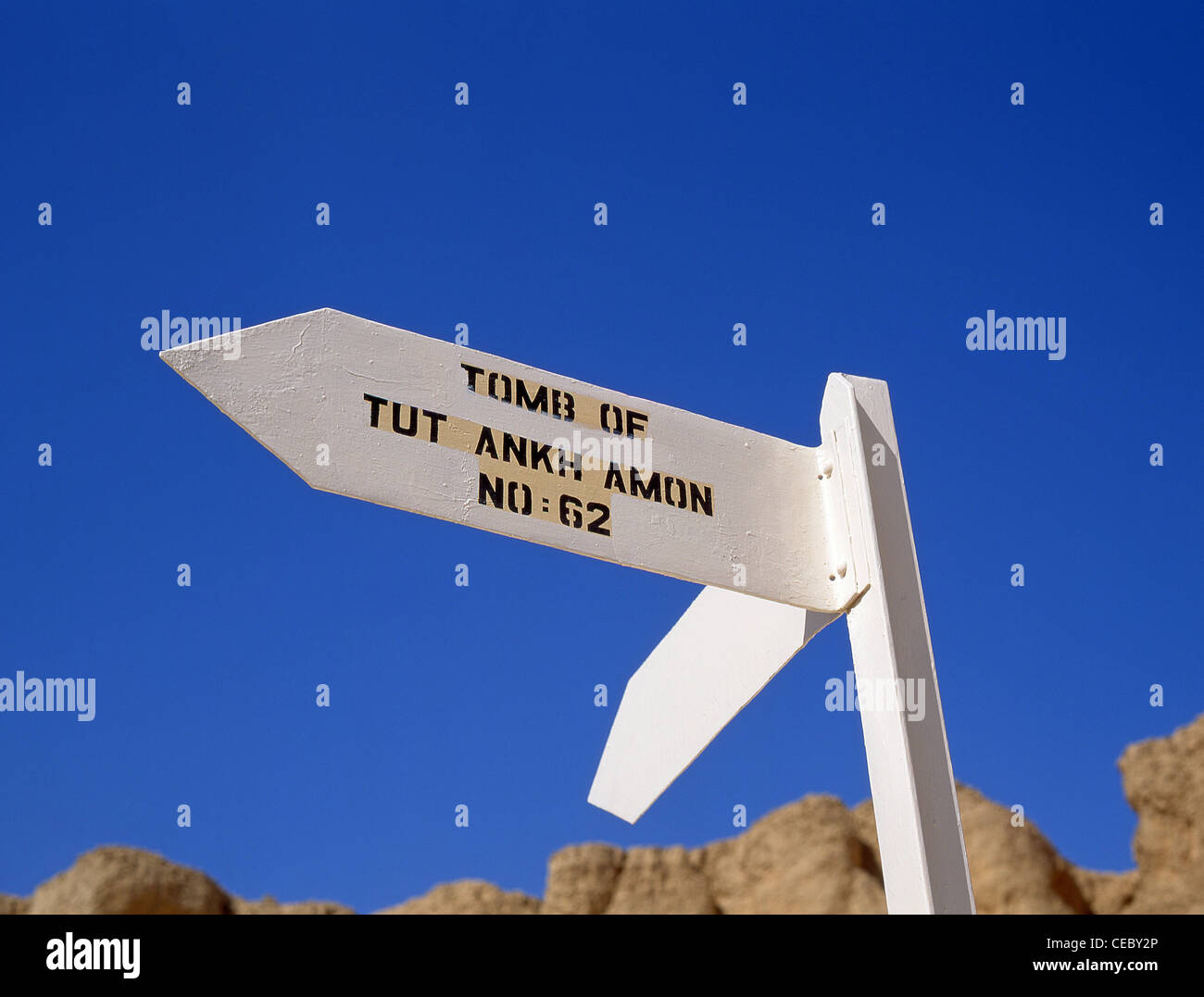 Sign to the Tomb of Tutankhamon, Valley of the Kings, Luxor, Luxor Governorate, Republic of Egypt - Stock Image