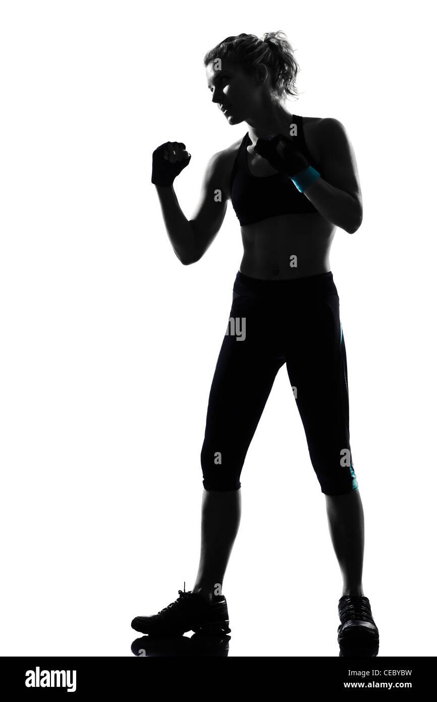 one woman exercising workout fitness aerobic exercise posture on studio isolated white background - Stock Image