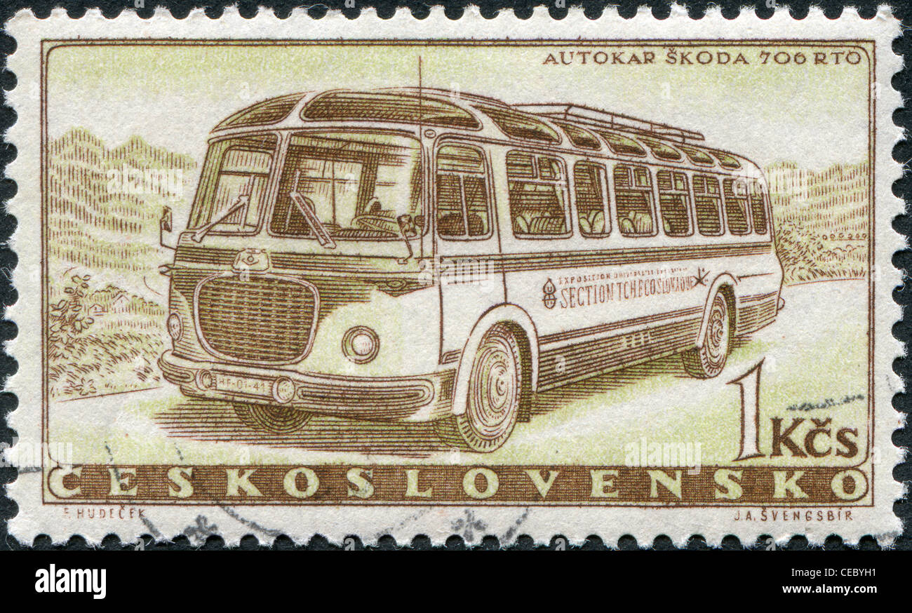 CZECHOSLOVAKIA - CIRCA 1958: A stamp printed in the Czechoslovakia, the bus shows the Skoda 706 RTO, circa 1958 - Stock Image