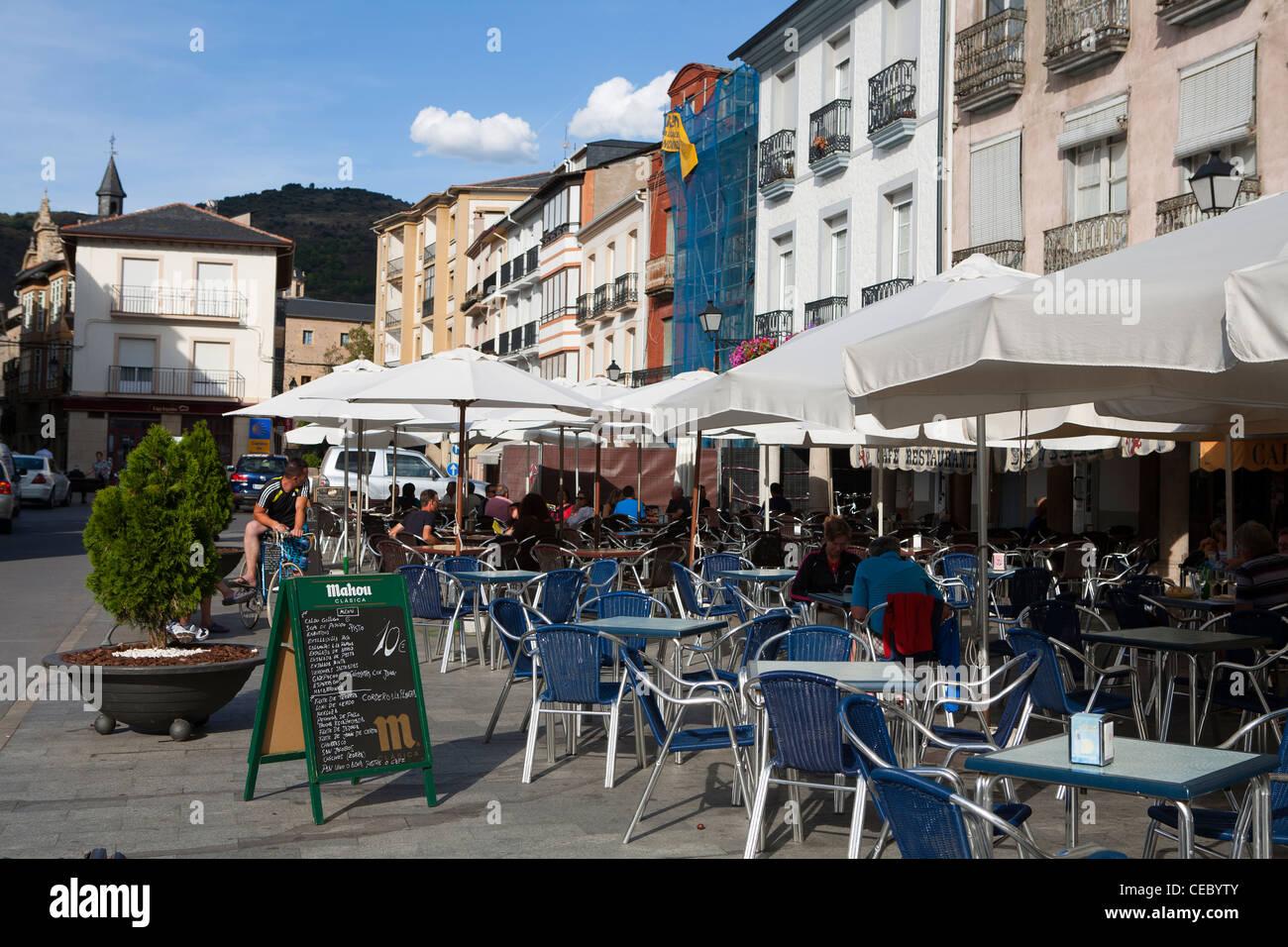 Cafes in the central square of Villafranca del Bierzo, a popular stop along the Camino de Santiago - Stock Image