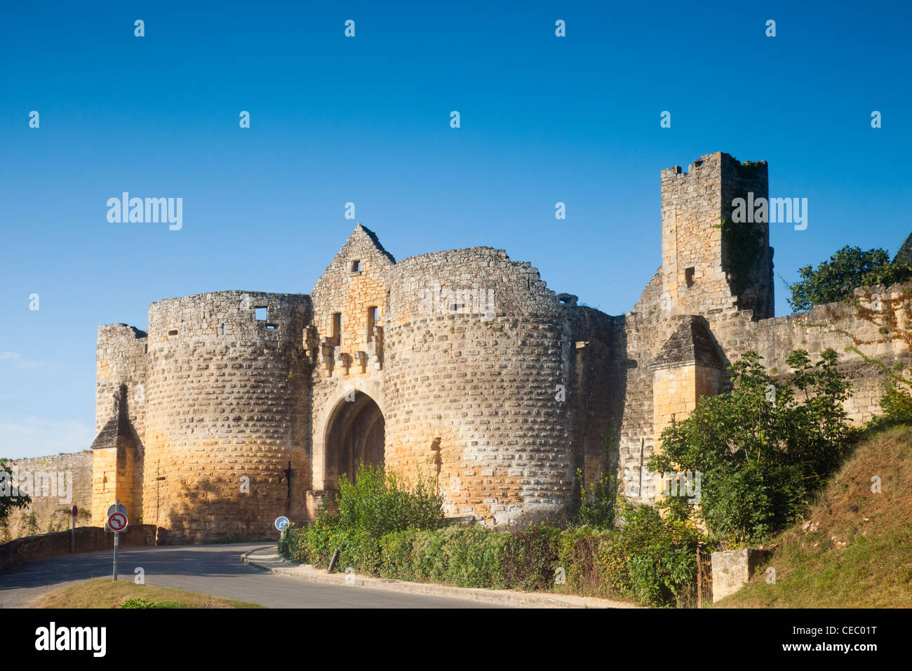 The main gate of the bastide of Domme, Aquitane, France. - Stock Image