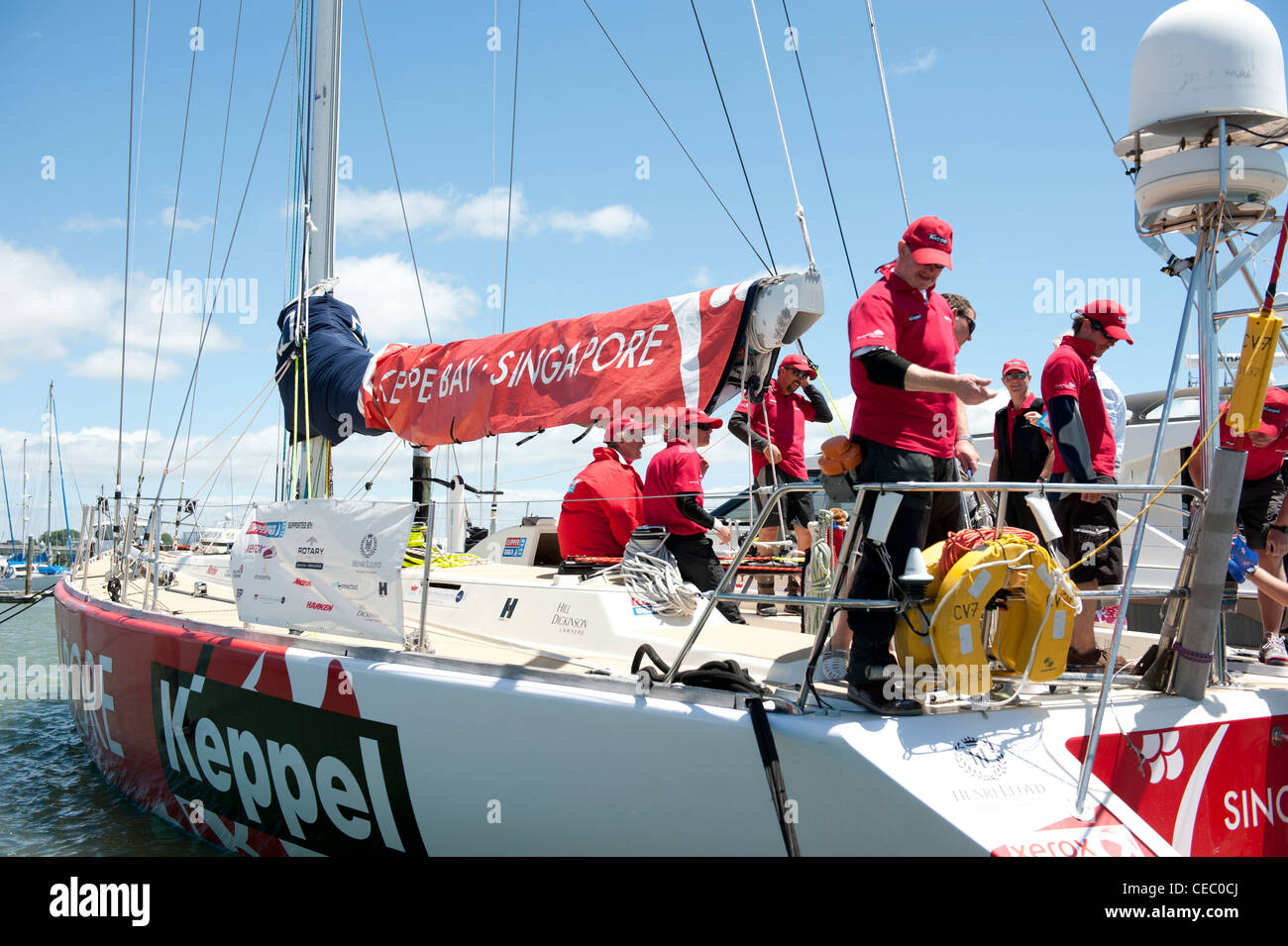 Boats taking part in the Clipper Round the World race moored in Tauranga harbour at the end of leg four. - Stock Image