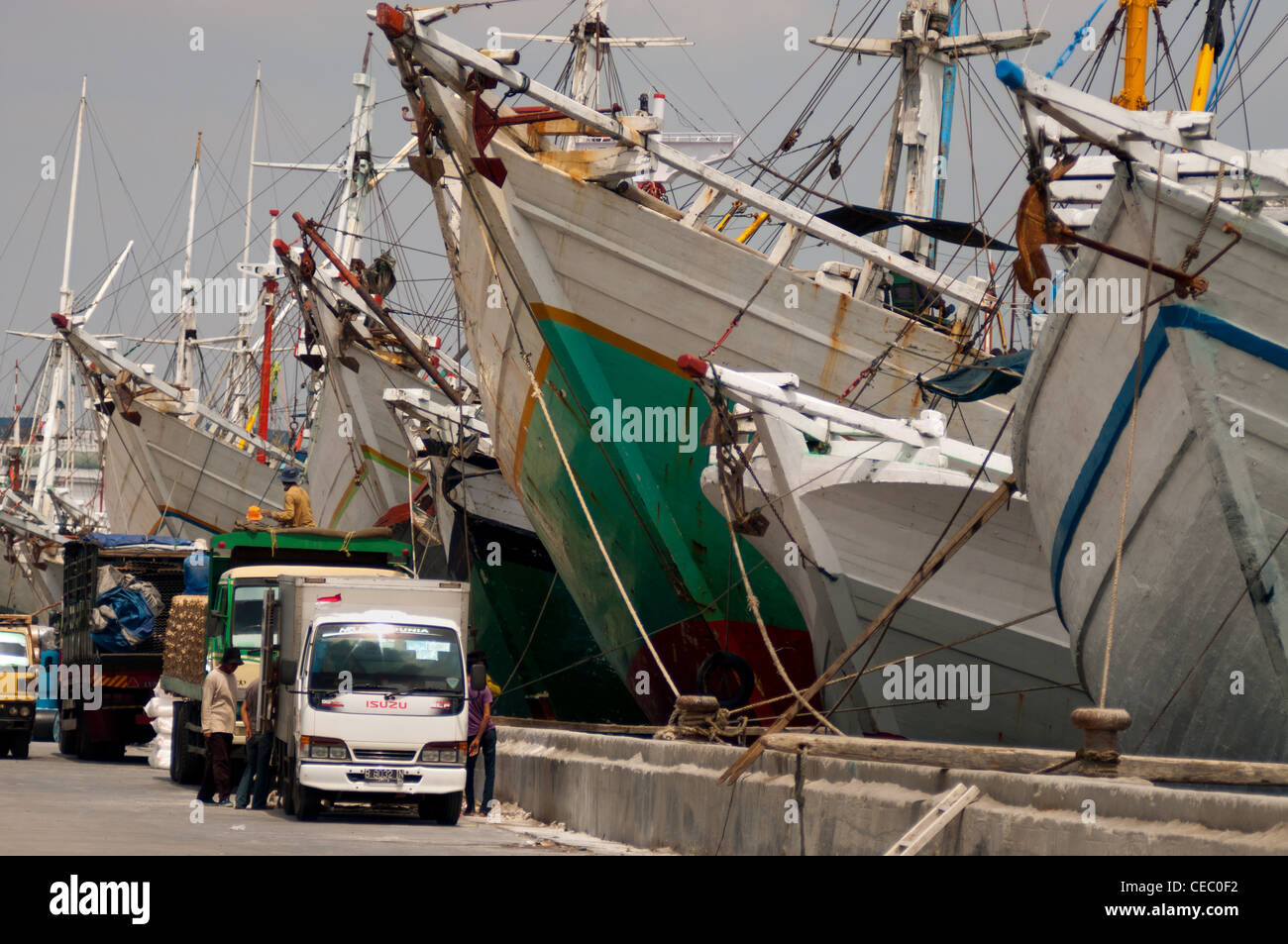 Sunda Kelapa is the old port of Jakarta located on the estuarine of Ciliwung River. The port is situated in Penjaringan - Stock Image