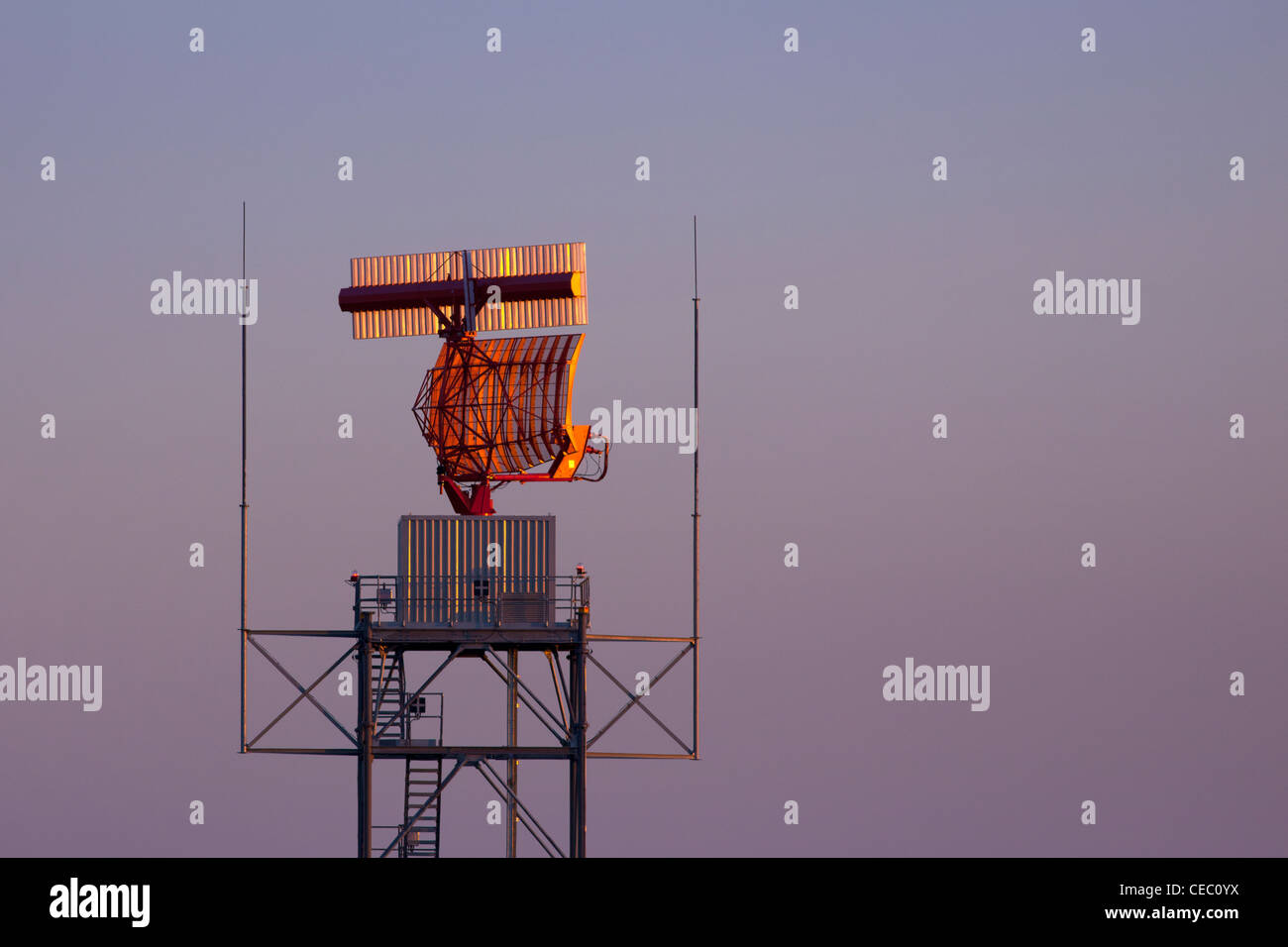 Air Traffic control radar beacon system at Oxford Airport at twilight Oxfordshire England - Stock Image