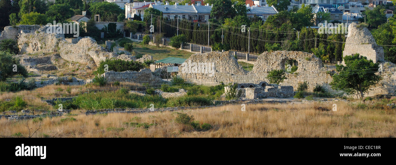 Ukraine. Chersonesus Taurica. 6th century BC. Greek colony occupied later by romans and byzantines. Defensive walls. - Stock Image