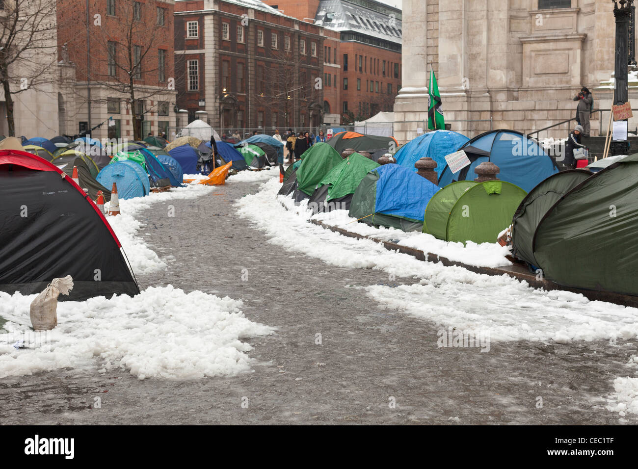 Anti-capitalist protesters camp  in London, England - Stock Image