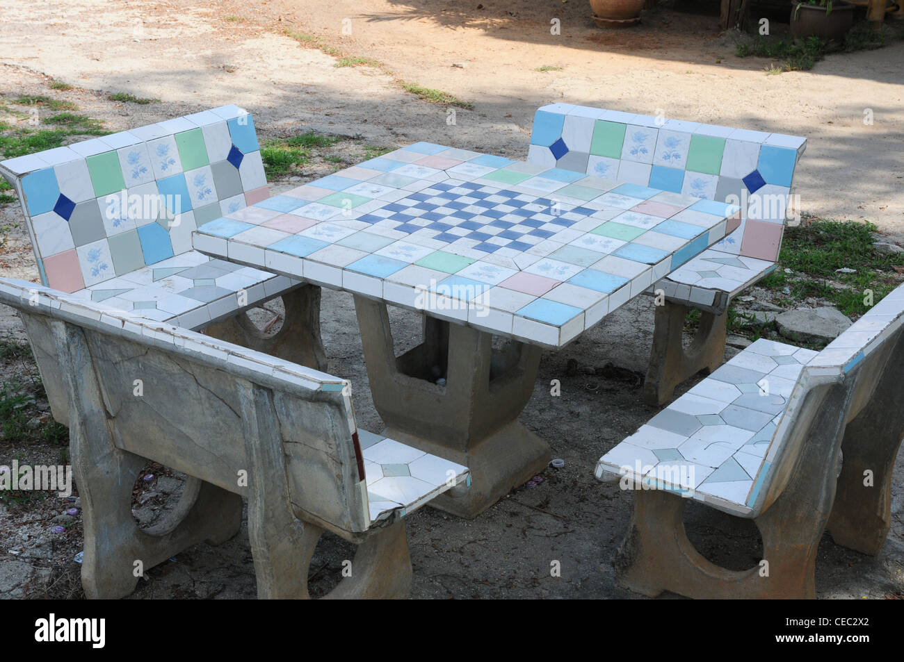 Superbe Tile Covered Concrete Table And Seats With Chess Board, Kanchanaburi,  Thailand   Stock Image