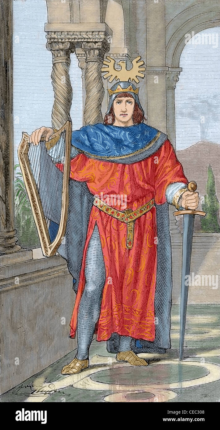 Frederick II Hohenstaufen (1194-1250). Holy Roman Emperor. Colored engraving. - Stock Image