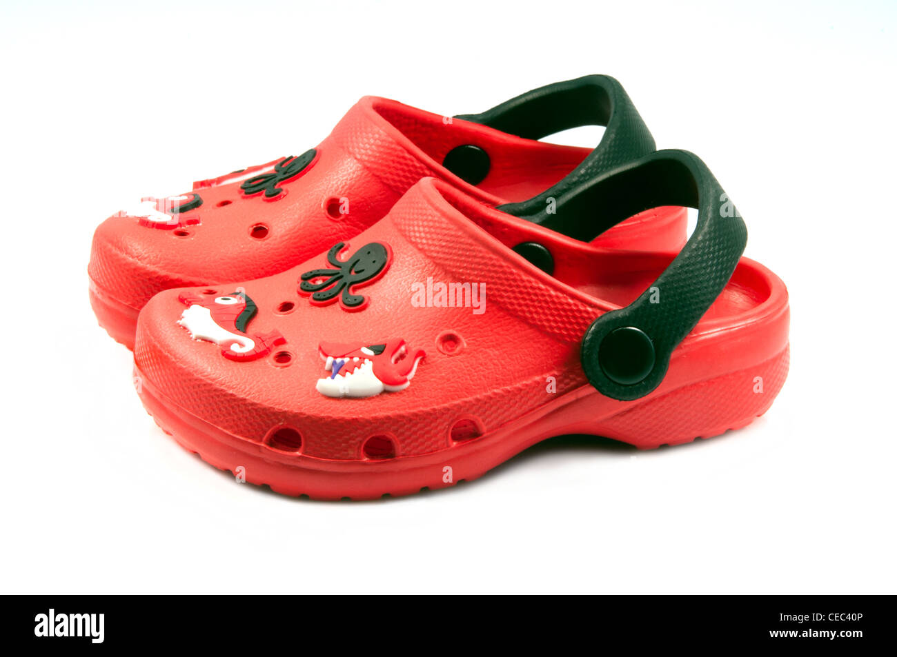 Toddler red crocs sandals - Stock Image