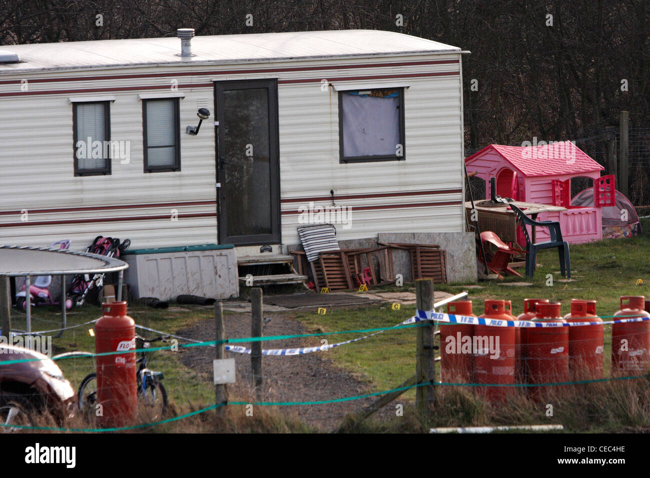 General view of the scene in Lower Mill Farm, Stanwell Moor where Mark Arbery, 50, was shot and later died. - Stock Image