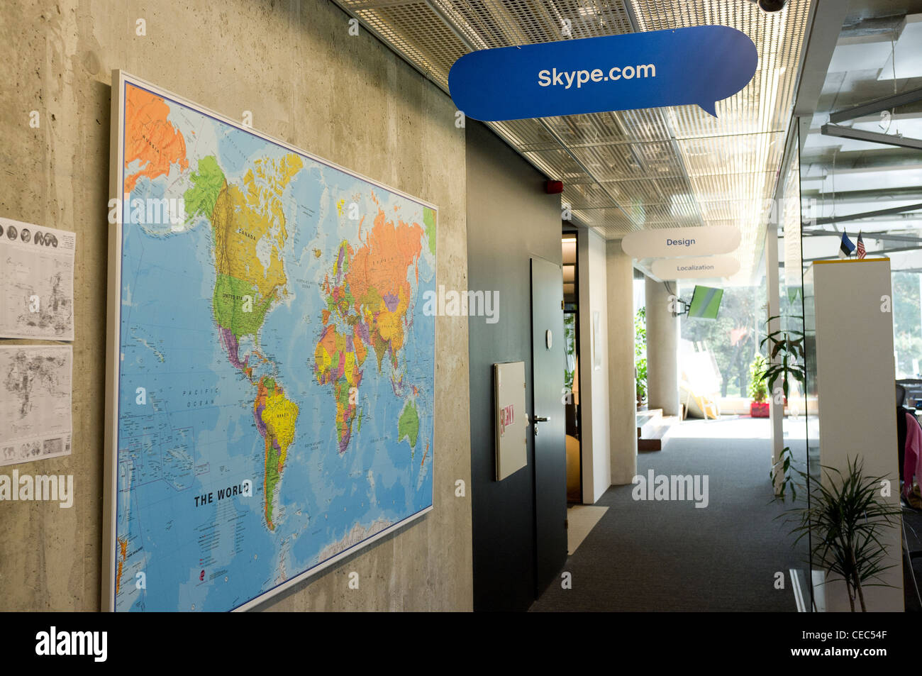 Corridor with world map at the skype worldwide headquarters tallinn corridor with world map at the skype worldwide headquarters tallinn estonia gumiabroncs Gallery