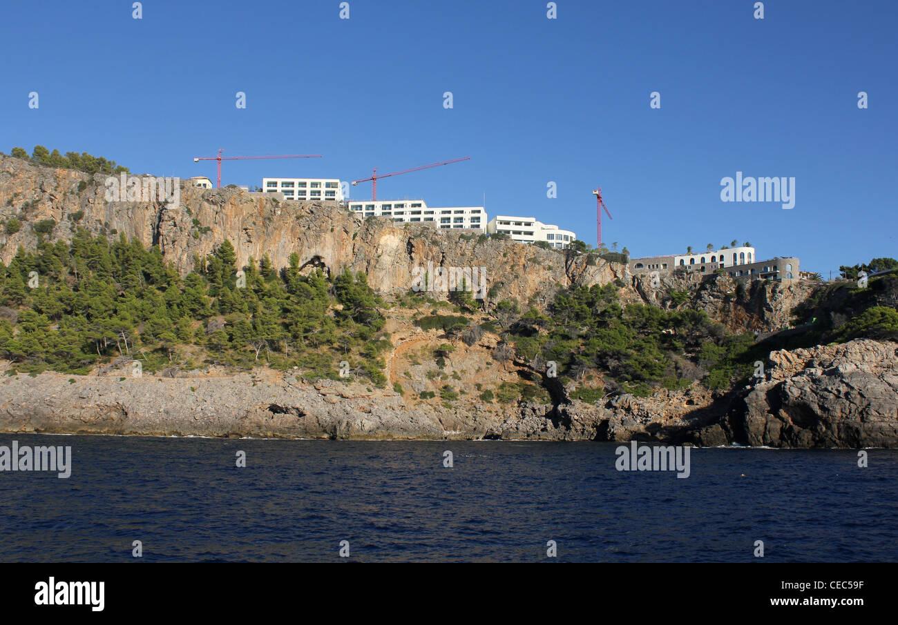 Coastal panorama - luxury tourist developments above the Port of Soller / Puerto Soller, North Coast Mallorca / - Stock Image