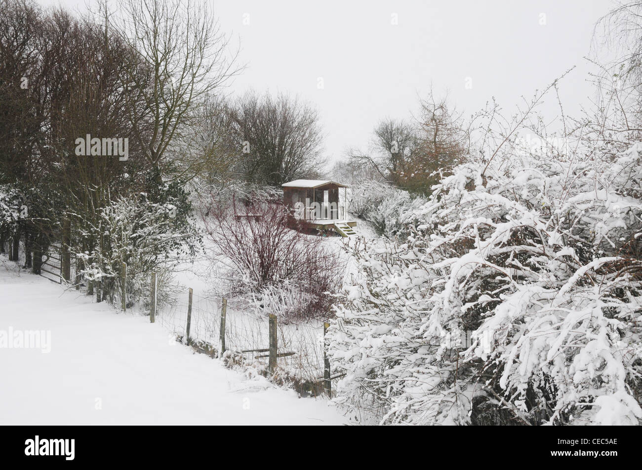 Summerhouse in snow white landscape, winter, England, UK - Stock Image