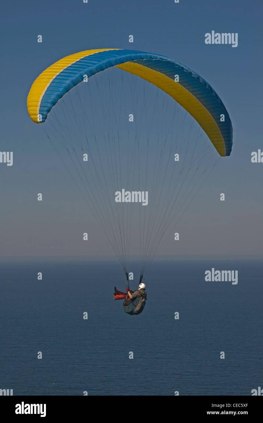 EUROPE, SPAIN, la Coruňa, paraglider in flight Stock Photo