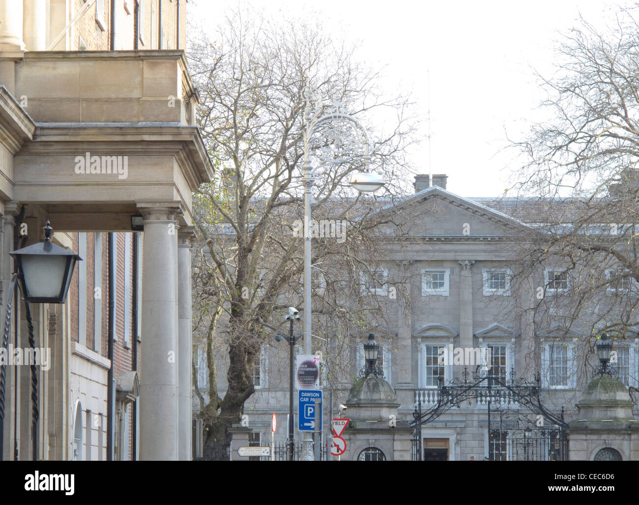 zoom shot of leinster house parliament building from kildare st in dublin ireland Stock Photo