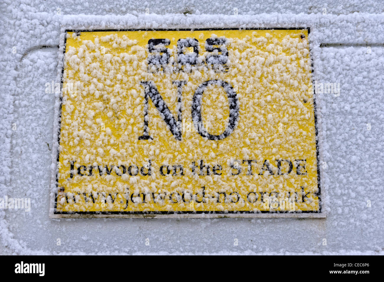 Say no to Jerwood sign covered in snow. Hastings. East Sussex. England. UK - Stock Image