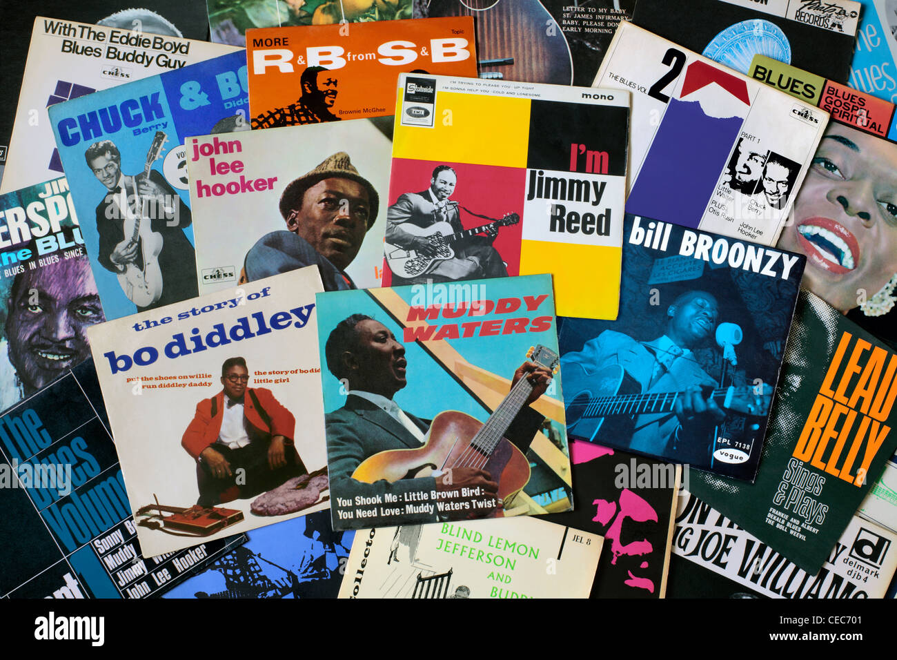 A selection of blues EPs mostly from the 1960s. EPs being 7' vinyl records with, usually, 2 tracks per side - Stock Image