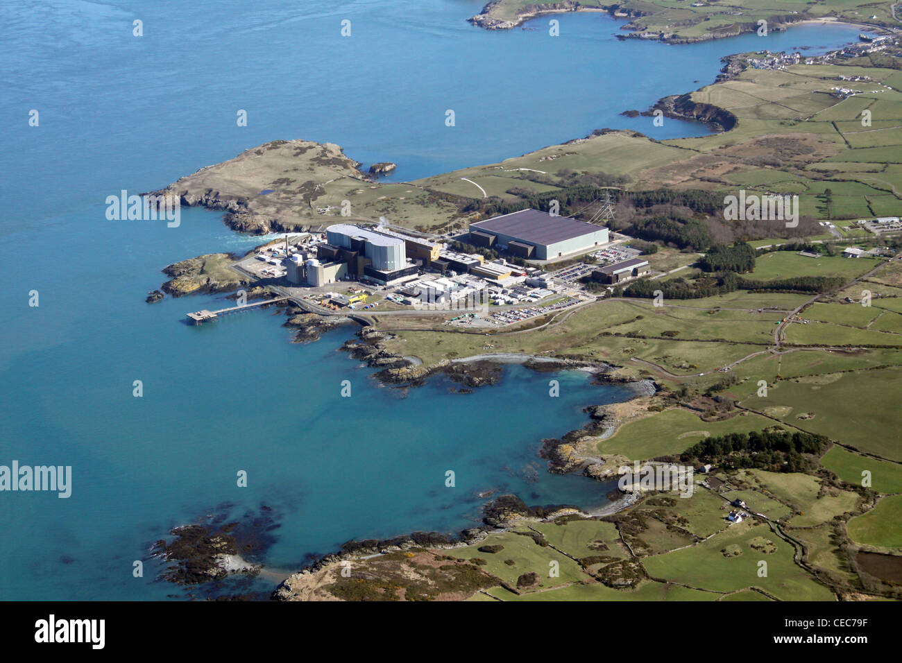 Aerial image of Wylfa Nuclear Power Station, Wylfa Head, Anglesey, North Wales, sometimes referred to as Wilfa - Stock Image