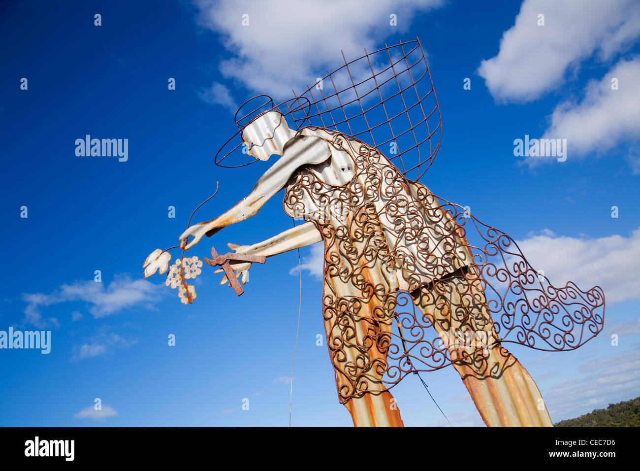 Grape harvesting sculpture.  Margaret River, Western Australia, AUSTRALIA - Stock Image