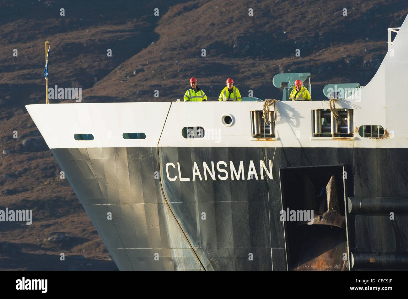 Close up of the 'Clansman' - the ferry that runs between Ullapool and Stornoway on the Isle of Lewis, Scotland. Stock Photo