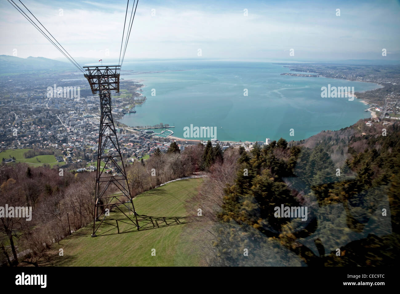 View from the Pfaender near Bregenz in Austria on the Lake Constance in early spring - Stock Image
