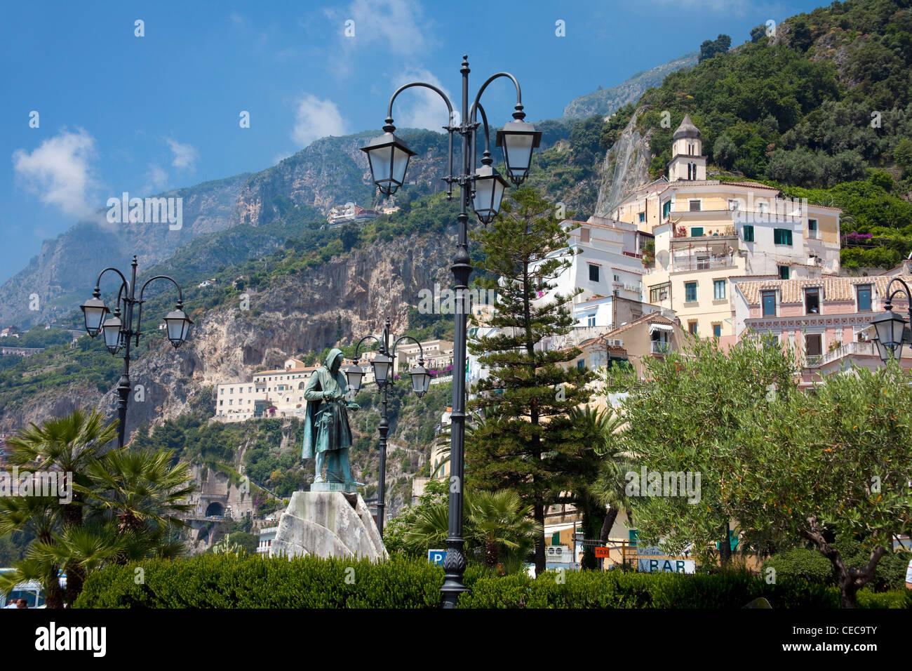 Memorial to Flavio Gioia, inventor of compass, village Amalfi, Amalfi coast, Unesco World Heritage site, Campania, - Stock Image