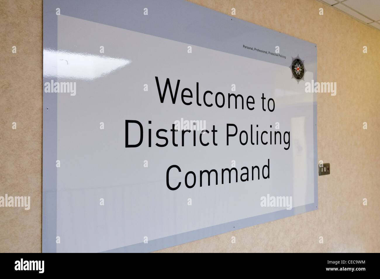 Sign for the District Policing Command at PSNI Headquarters - Stock Image