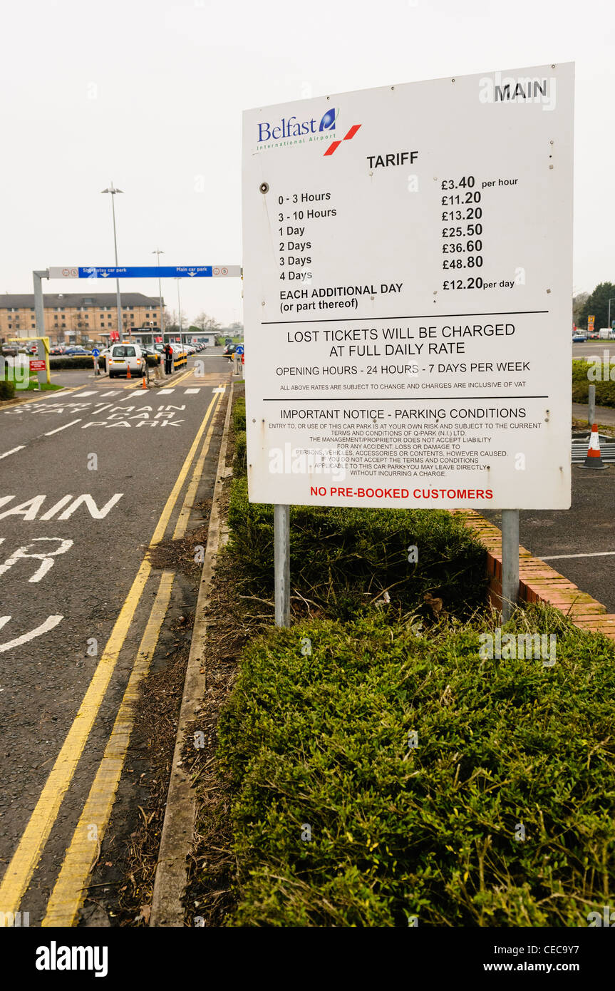 Car park fees at Belfast International Airport - Stock Image