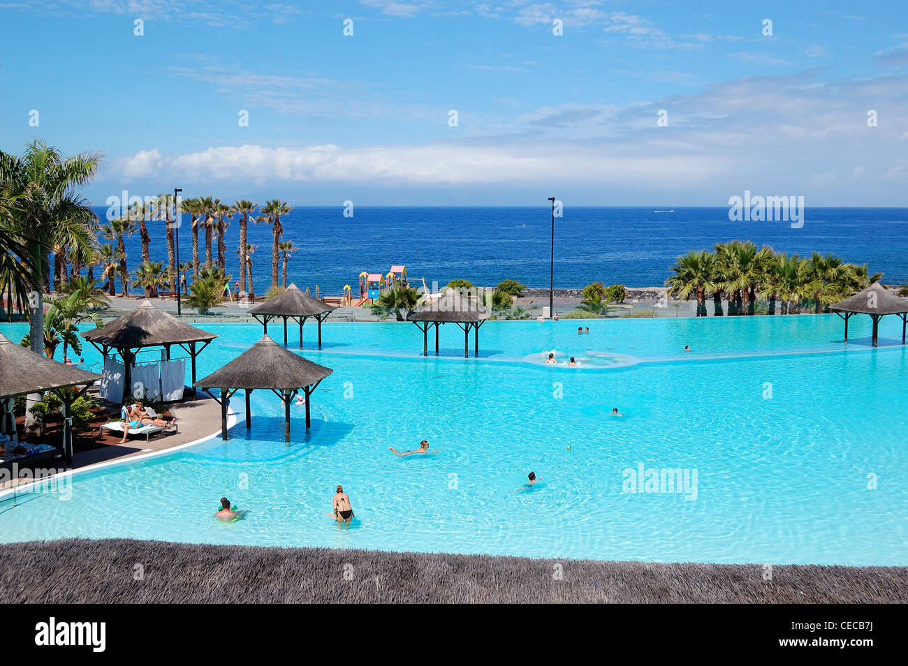 Swimming Pool With Jacuzzi And Beach Of Luxury Hotel Tenerife Stock