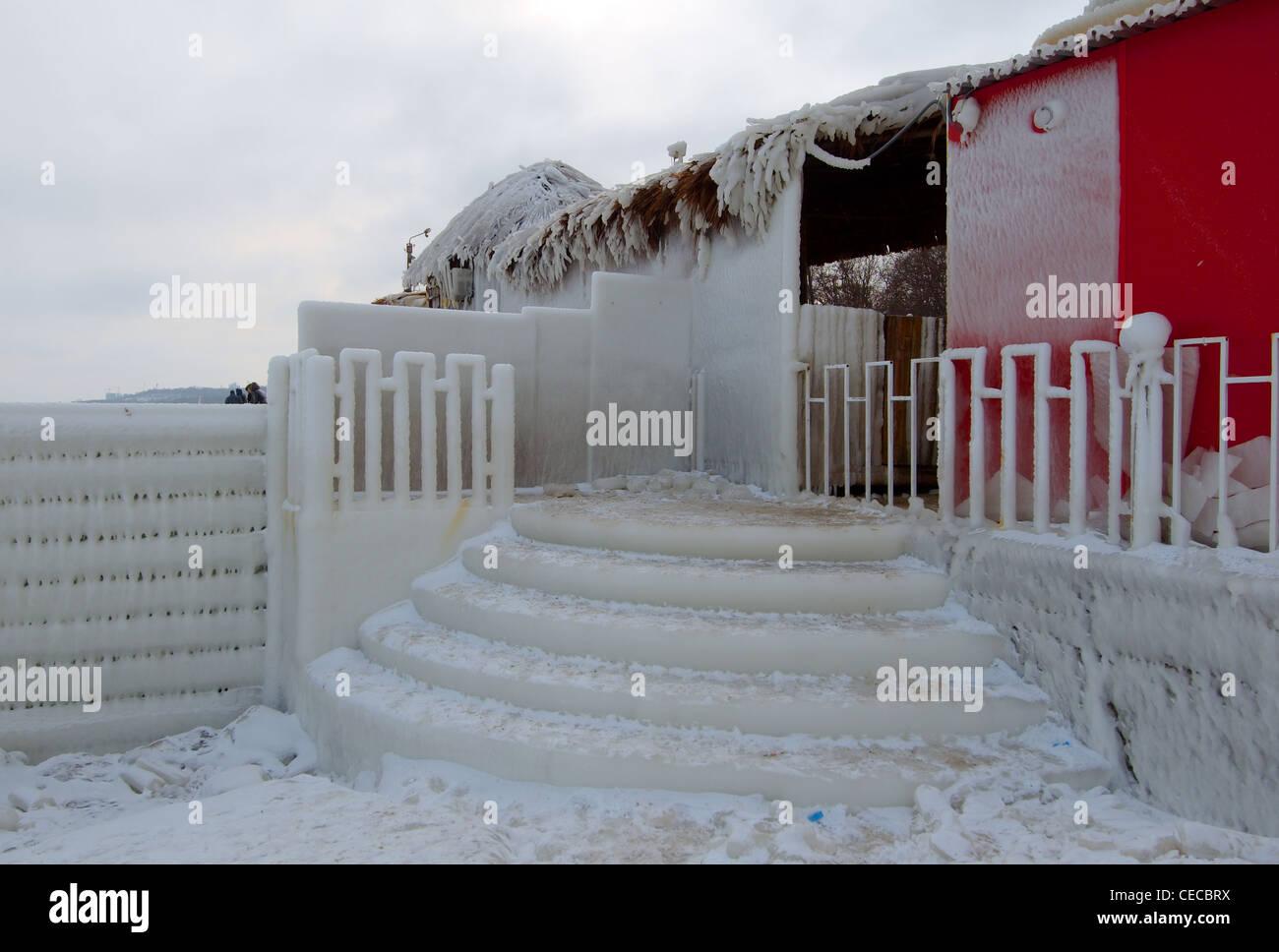 Icy pier, frozen Black Sea, a rare phenomenon, Odessa, Ukraine, Eastern Europe - Stock Image