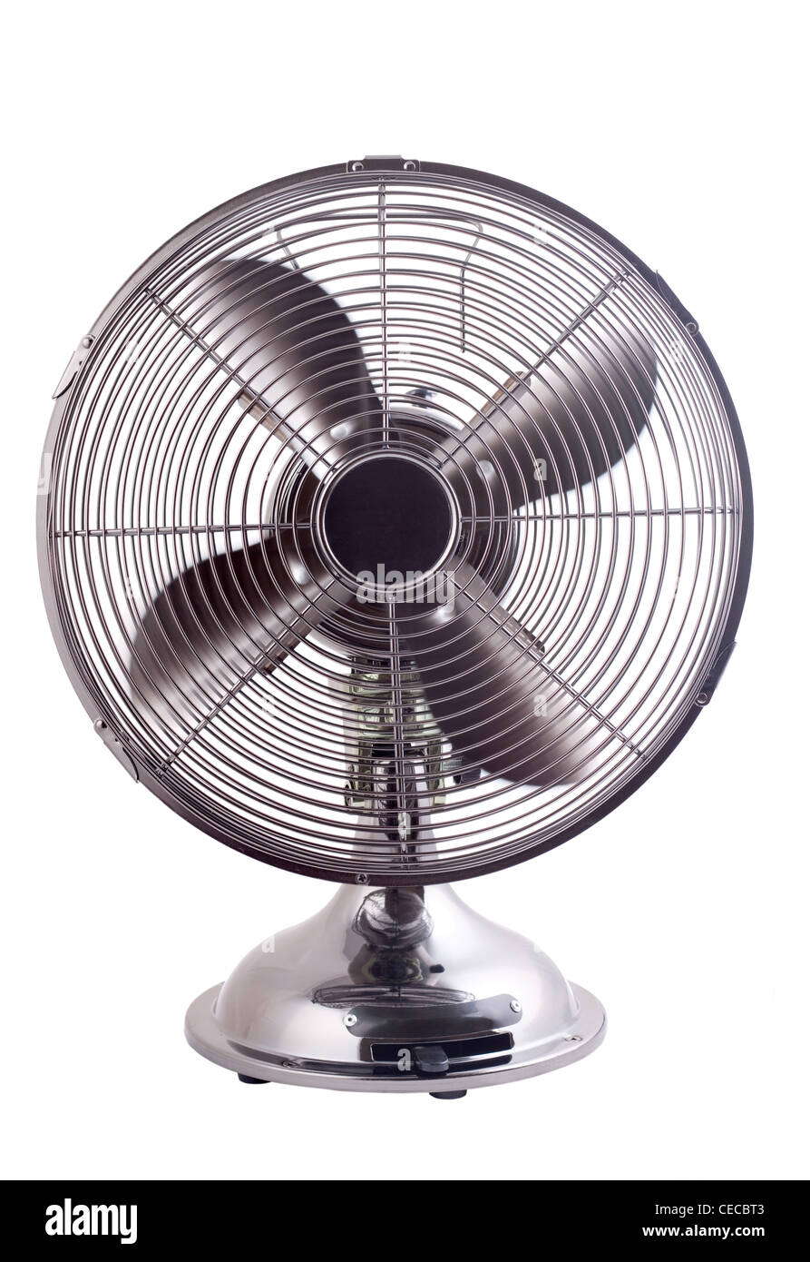 Isolated image of an elegant designed fan working against a white background - Stock Image