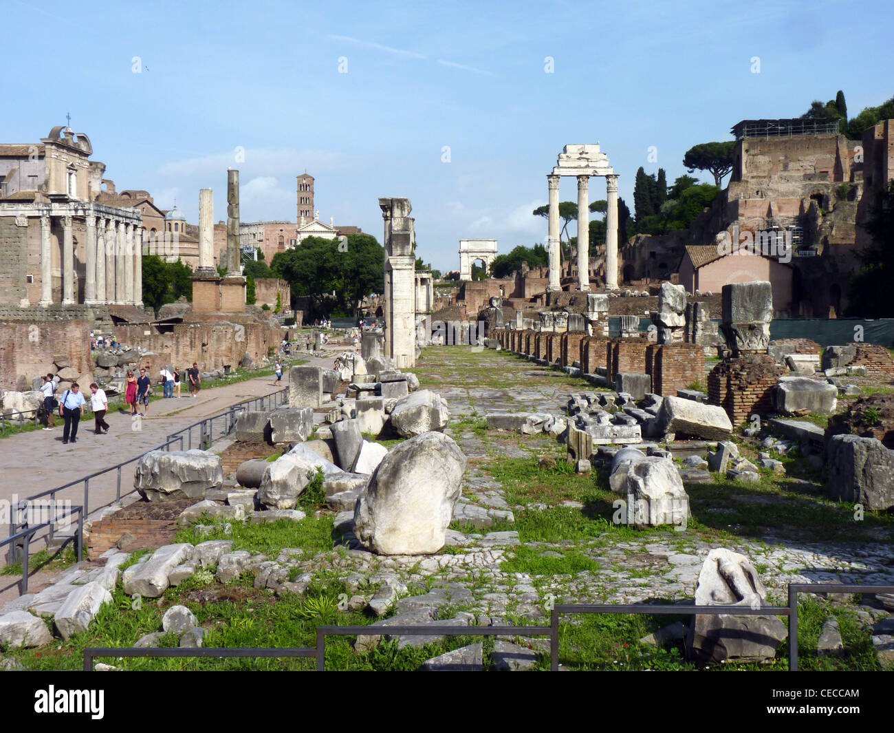 Temple of Castor and Pollux in the ruins of the ancient roman forum romanum, Rome, Italy - Stock Image
