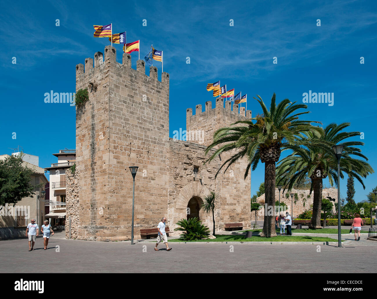Gate of the city walls Alcudia Old Town Mallorca Balearics Spain - Stock Image