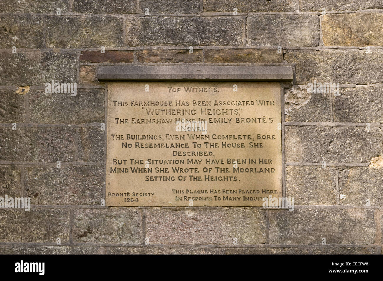 Close-up of plaque on Top Withens, crumbling farmhouse ruin on remote Pennine moors (Wuthering Heights?) - near Haworth, West Yorkshire, England, UK. Stock Photo