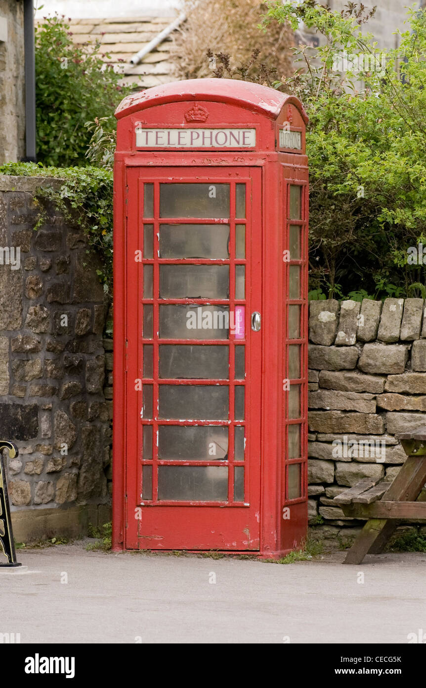 A red telephone box in Burnsall village. - Stock Image
