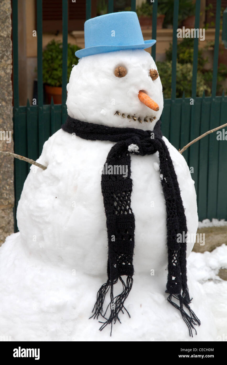 snowman winter snow - Stock Image
