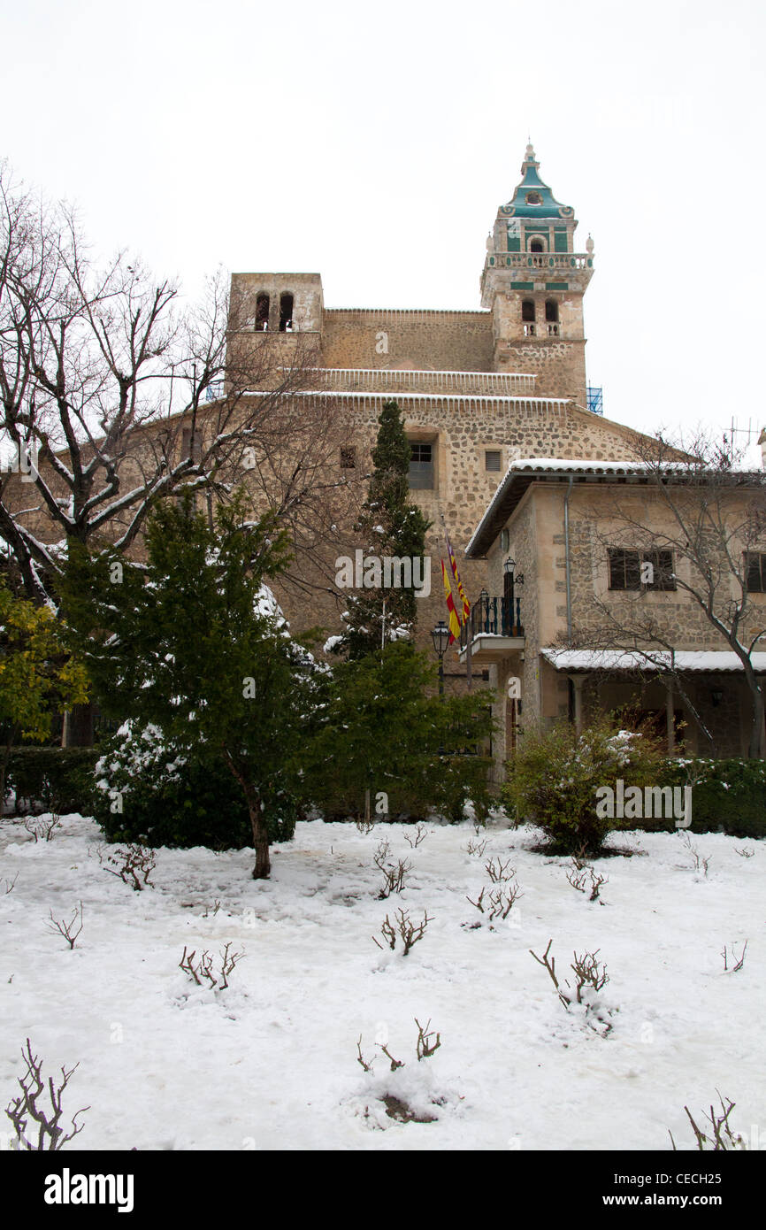 La Cartuja Valldemossa Majorca Mallorca winter snow Balearic islands Spain - Stock Image